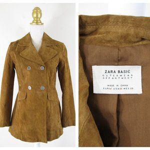 Zara Basic Outerwear Suede Pea Coat Jacket M